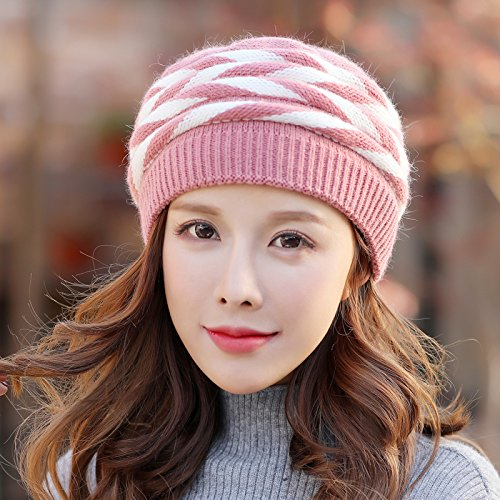 NWEC NEWC Autumn and Winter Women's Knitting Wool Hat Thickened and Warm Wool Hat 55-60cm,B Skin Red