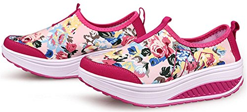 Adult Womens Shape Ups Pull on Walking Shoes Casual Fashion Sneakers Rose Df2KODI
