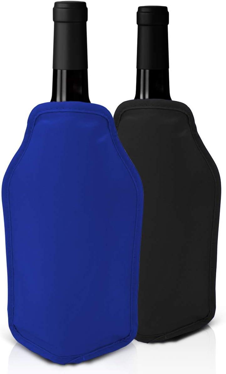 Joeji's Kitchen Juego de 2 Fundas Enfriadoras de Vino - Rojo y Azul Enfriar Botellas de Vino y champán - Ideal para cenas, Eventos.