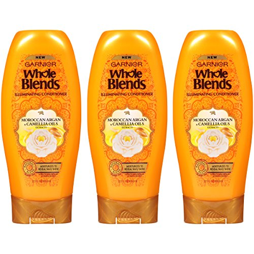 Garnier Hair Care Whole Blends Illuminating Conditioner with Moroccan Argan & Camellia Oils Extracts, 3 Count (Argan Oil Blend)