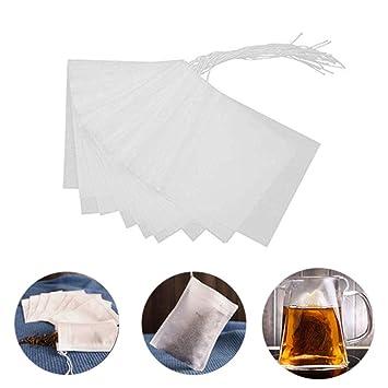 50 bolsas desechables de filtro de té vacías de algodón con ...