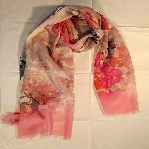 Pink Silkscreen (Elena Milani Couture- handmade silkscreen pink flower lightweight wool gauze scarf)