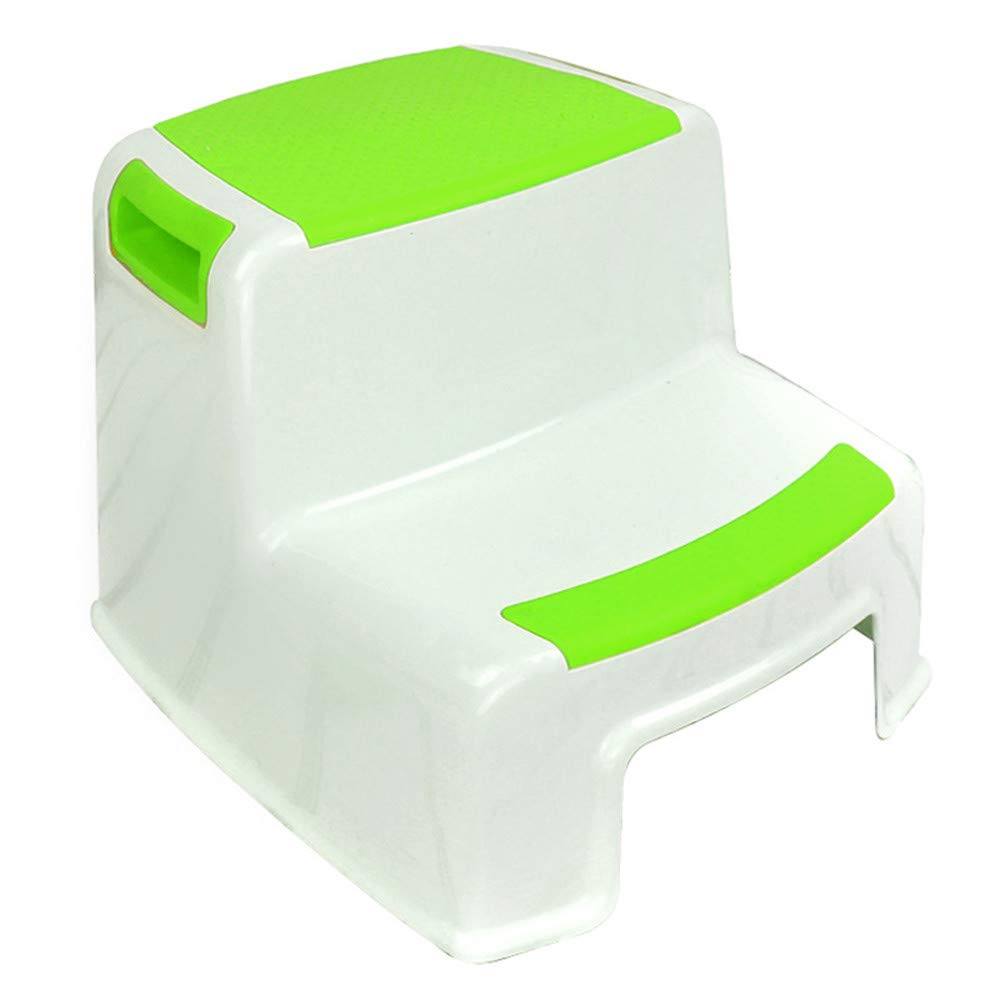 Amyannie Children's Thick Plastic Non-Slip Bathroom Square Stool Child Plastic Double Stool (Color : Green)