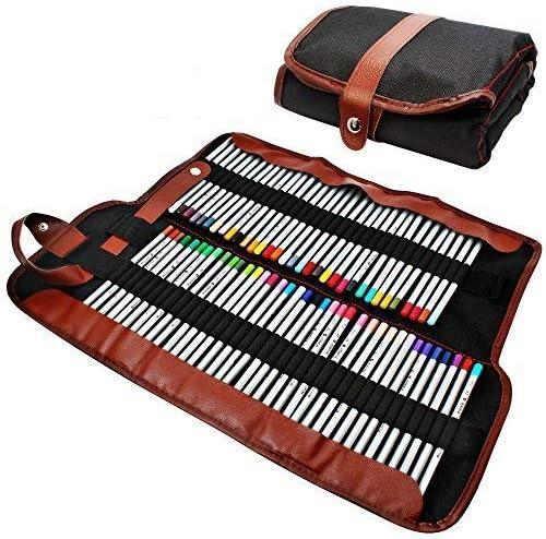 AFUNTA Estuche para lápices, Organizador para 72 lápices, Enrollable de Lona Lavable lápiz Bolsa de Oficina Escuela de Arte etc. Lápices no incluidos: Amazon.es: Juguetes y juegos