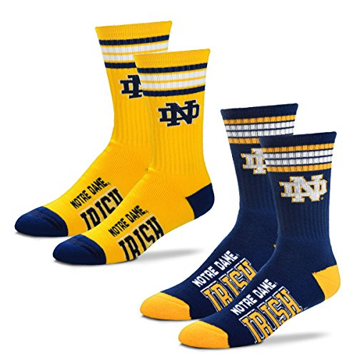 For Bare Feet Men's 4 Stripe Deuce Crew Socks-Notre Dame Fighting Irish-Large-2 Pack