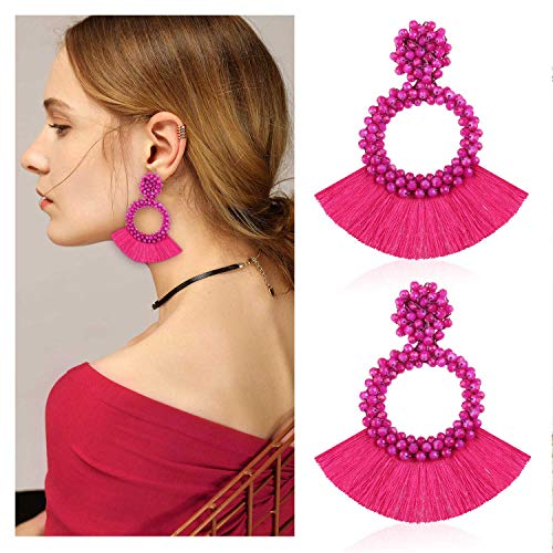 Statement Tassel Bead Earrings Hoop Handmade Drop Dangle Earrings for Women Gift for Mother Sister Daily Party with Gift Box KIE130 Rose Pink ()