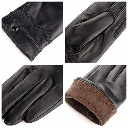Black Mens Autumn Winter Classic Genuine Leather Gloves Lambskin Mittens