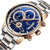 [Patrocinado] Reloj analógico de cuarzo para hombre de moda de acero inoxidable, resistente al agua, cronógrafo, reloj de brazalete para negocios