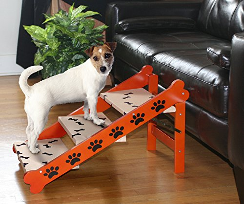 Wood Paw Print And Bone Design Folding Indoor/Outdoor 2 in 1 Wood Pet Steps and Ramp (Pet Half Extra Ramp Wide)
