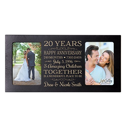 LifeSong Milestones Personalized Twenty Year her him Couple Custom Engraved Wedding Celebration for Husband Wife Girlfriend Boyfriend Photo Frame Holds Two 4x6 Photos - 20th Gifts Wedding Anniversary