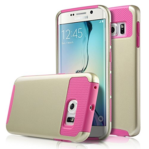 Galaxy S6 Edge Case, Asstar Hybrid Dual Layer Plastic Hard Shell Flexible TPU Protective Shock Absorbing Impact Defender Slim Case Cover Samsung Galaxy S6 Edge (Gold rose)