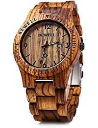 W086B Mens Wooden Watch Analog Quartz Lightweight...