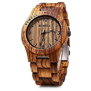 Bewell W086B Mens Wooden Watch Analog Quartz Lightweight Handmade Wood Wrist Watch 27