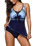 Zando One Piece Swimdresses Swim Dress Swimwear Skirted One Piece Bathing Suit Swimming Swimsuits for Women Blue L (US 10-12)