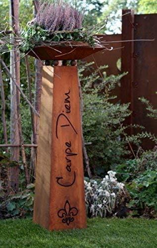 Rostikal Pátina Columna Metal Carpe Diem con Carcasa, Residencial y Decoración Jardín con Pfiff: Amazon.es: Hogar