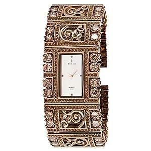 Black Royale Women's White Dial Brass Band Watch - 10574LSBB