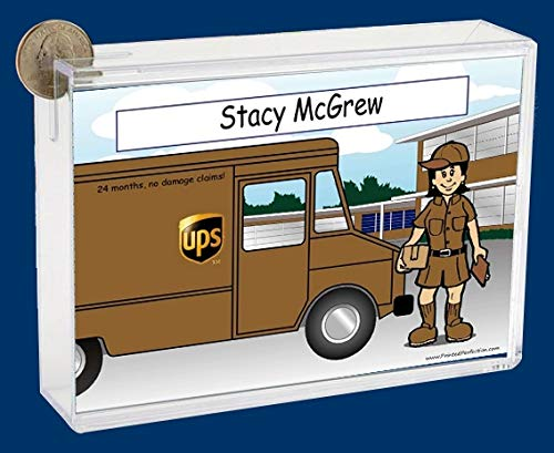 Personalized NTT Cartoon Side Slide Frame Gift: UPS Driver Female Gift, United Parcel Service, UPS, Thank You, Appreciation Gift