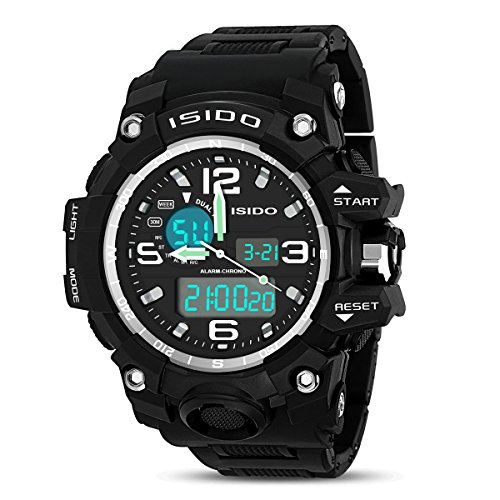 ISIDO Men's Sport Digital Multi-function Watch Casual Band Design Dual Time Zone Waterproof Alarm Quartz Watches Black and Green