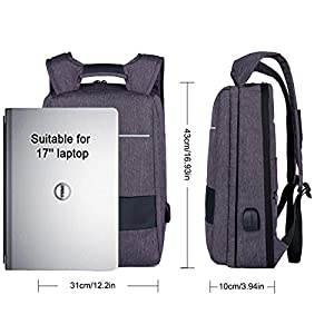 XQXA Backpack Laptop,Business Backpack with USB Charging Port and Headphone Jack,Laptop Bag for HP Lenovo Macbook,Best Laptop Backpack Lightweight,Mens Bags Backpack,17 Inch Laptop Backpack