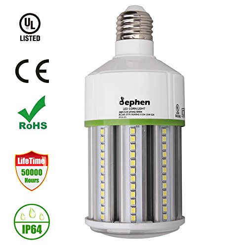 Porch Post Base (Dephen LED Corn Light Bulb,15 Watt(120W Equivalent)AC100-277V 1650LM 5000K Daylight Corn Light Standard E26 Screw Base 360 Degree Flood Light used in Post Top/Table Lamp/Home/Porch/Corridor)