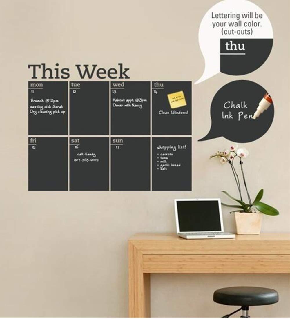 Amazon.com : DIY Weekly Plan Calendar Chalkboard Removable ...