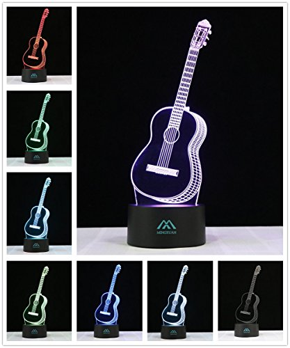3D Night light Guitar 7 Colors Amazing Optical Illusion LED light home decorations produce unique lighting effects (Amazing 3d Illusions)