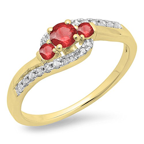 14K Yellow Gold Round Ruby & White Diamond Ladies Bridal Bypass Swirl 3 Stone Engagement Ring (Size - Ring Stone Swirl