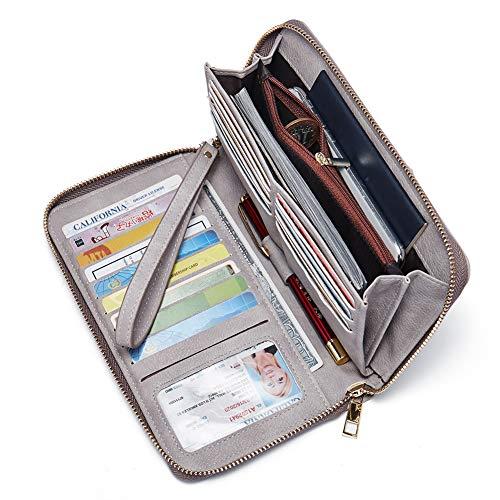 Women Wallet Large Nubuck Leather Designer Zip Around Card Holder Organizer Ladies Travel Clutch Wristlet Grey