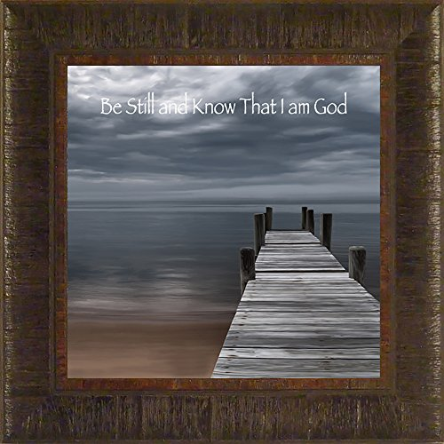 Be Still By Todd Thunstedt 17.5x17.5 Cloudy Pier Water Religious Bible Verse Quote Saying Jesus Testament Old New Psalm Framed Art Print Wall Décor Picture