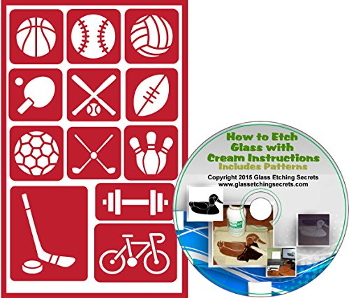(Sports & Team Reusable, Adhesive Stencils: Basketball, Baseball, Volleyball, Ping Pong, Bat, Football, Soccerball, Golf, Bowling, Barbell, Hockey, Bike + How to Etch CD)