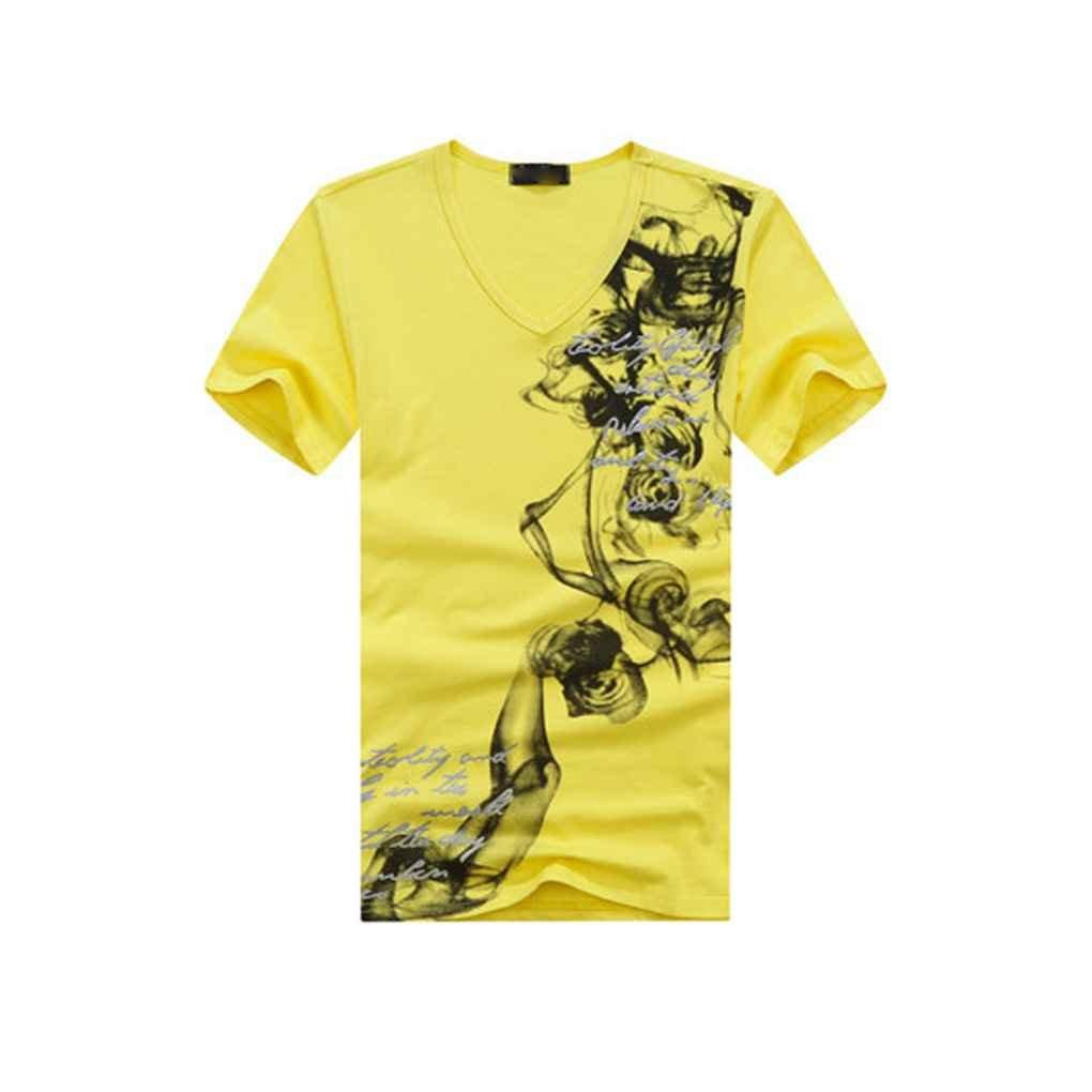 Miaomiaogo Men Casual V Collar Blouses Printing Elastic Short Sleeve T-Shirt Tee Blouse