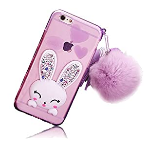 iPhone 5 5s SE Case Cute, GreenDiemnsion Soft Transparent TPU Adorable Cartoon Rabbit (Bunny) Stand Bling Diamond Silicone Ear Scratch Resistant Ultra thin Case with Hairball Pompon Wrist Strap Purple