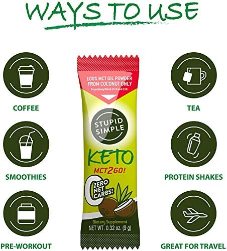 Stupid Simple Keto MCT2Go! 100% MCT Oil Powder from Coconut C8 and C10 Blend, Zero Net Carbs (7 Packets) Great for Pre-Workout, Appetite Control, and Mental Performance 6