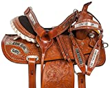 COWGIRL UP BARREL RACING RACER PLEASURE TRAIL SHOW HORSE SILVER LEATHER SADDLE TACK SET 14 15 16