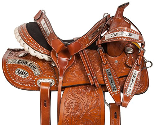 "14"" 15"" 16"" PRO SERIES COWGIRL UP BARREL RACING WESTERN PREMIUM LEATHER HAND CARVED RODEO HORSE SADDLE TACK PACKAGE (15)"