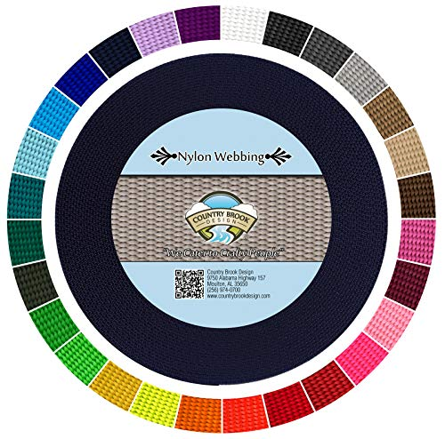 Country Brook Design - Durable 1 Inch Heavy Nylon Webbing - 29 Vibrant Colors (Navy Blue, 10 Yards)