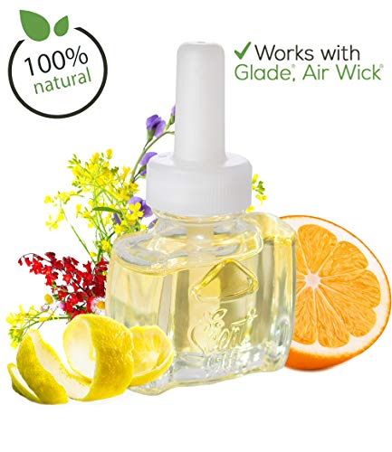 (3 Pack) 100% Natural Citrus & Wildflower Plug in Refill for Glade and AIr Wick (Natural Plug)