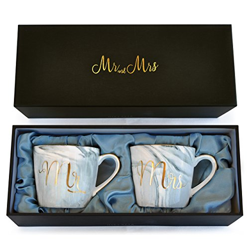 Wedding Gift - Mr and Mrs Mug Set - Classy and Elegant Gift Box with 2 Marble/Gold Tea or Coffee Cups - Beautiful Couples Anniversary, Engagement or Wedding Present for Bride and Groom - His and Her's by GIFTALIA