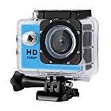 Digital Action Camera Waterproof Sports Camera Cam Camcorders Wifi HD 1080P 30fps 12MP 170 Degree Wide Angle and Helmet Accessories Kit- Waterproof 100ft (blue)