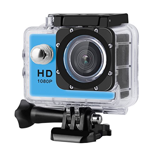 Digital Action Camera Waterproof Sports Camera Cam Camcorders Wifi HD 1080P 30fps 12MP 170 Degree Wide Angle and Helmet Accessories Kit- Waterproof 100ft (blue) by Tyson