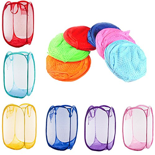 RayLineDo 6 x Foldable Pop Up Mesh Washing Laundry Basket Hamper Bag Bin Tidy Clothes - Pop Bags Up Laundry