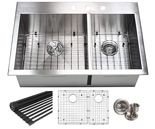 33 INCH (60/40) Zero Radius Design 16 Gauge Topmount Drop In Over the Counter Large Double Bowl 5050 Stainless Steel Kitchen Sink Premium Package 33 INCH (60/40) KKR-FT3322-6040