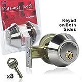 EACHPOLE Double Cylinder Deadbolt Keyed on 2 Sides for Outdoor Garage Gate Indoor Entry Door, APL1519, Satin Nickel
