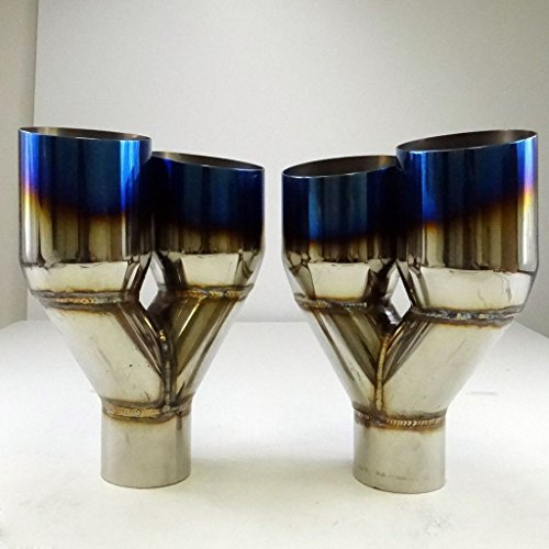 Set of 2 Blue Burnt Exhaust Duo Polished Tip Staggered Stainless 2.5