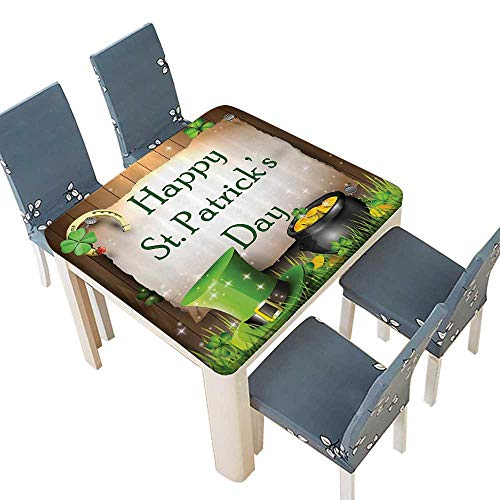 PINAFORE Printed Fabric Tablecloth Celebrati Partyatis in Irish Shamrock Leaf The Lucky Clovers Gold Horseshoe Washable Polyester 69 x 69 INCH (Elastic Edge)