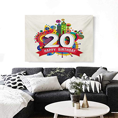 BlountDecor 20th Birthday Modern Canvas Painting Wall Art Geometric Shapes Design with Castle Circles on Backdrop Sweet 20 Theme Image Art Stickers 24