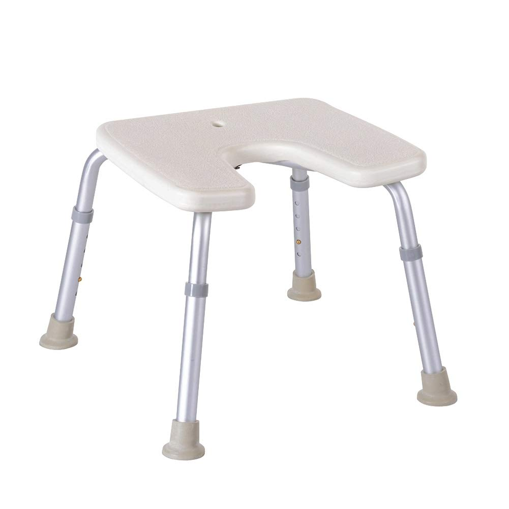 Beauty U-Shaped Shower Stool Adjustable Height Shower Chair, Bathing Aid for Elderly/Disabled Bath Seat Bench, Bearing Weight 136 Kg