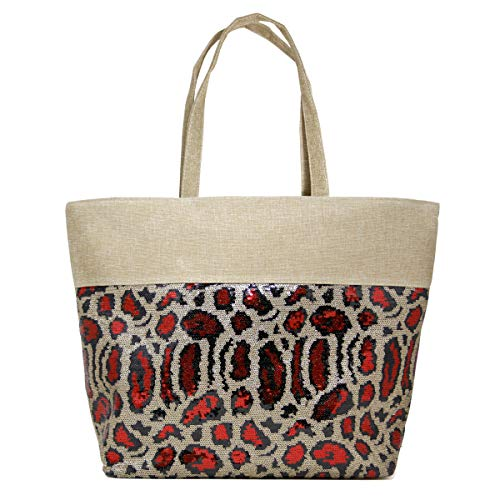 by you Sequin Animal Printed Large Tote Shoulder Beach Bag with Zipper Closure Top Handle (Sequin Animal Print - Red)