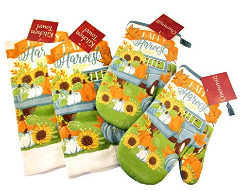 Thanksgiving Kitchen Towels and Oven Mitts - Bundle of 4 Items: 2 Dish Towels and 2 Oven Mitts (Happy Harvest - Teal Pumpkins and Pick Up Truck) - Pickup Mitt