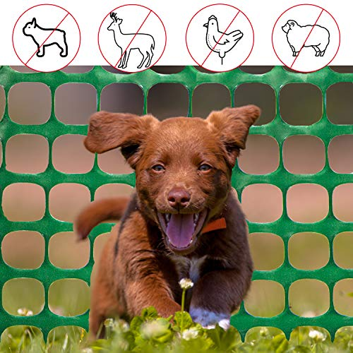 E/&K Outdoor Fence Screen for Veggie Garden Backyard Chicken Yard Mesh Net Safety Fence Barrier for Dogs Rabbits Puppy Balcony Deck Patio Porch 6H x 1L Green